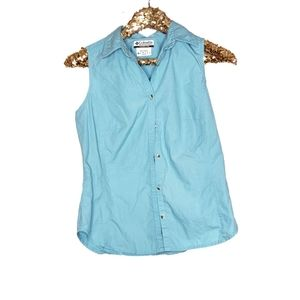 Columbia Sportswear Blue Button Down Top Tank Sm